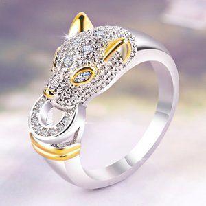 *NEW White&Yellow Gold Diamond Panther Cat Ring